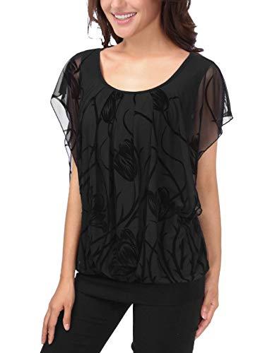 Mode Col Casual Style Courtes Schwarz Spcial Top Rond Chauve Haut Modle Femme Chemise Impression Tops Souris Plier Et Confortable 3 Elgante Blusen Manches 6Sw5xUq
