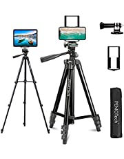 """PEMOTech 50"""" Phone Tripod with Remote, Lightweight Camera/iPad/Cell Phone Tripod with 2 in 1 Tablet Phone Holder + Gropro Adapter+Carry Bag, 360° Rotation Phone Mount Tripod for iOS & Android"""