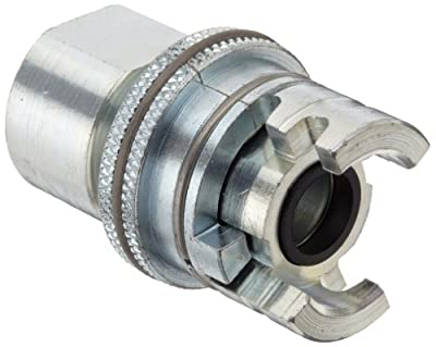"Dixon PFL12FS Plated Steel Dual Lock Quick Acting Air Hose Fitting with Knurled Flanged Sleeve, Socket, 1/2"" Coupling x 3/4"" NPT Female"