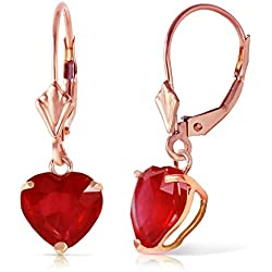 2.9 CTW 14k Solid Rose Gold Leverback Earrings with Natural Heart-shaped Ruby