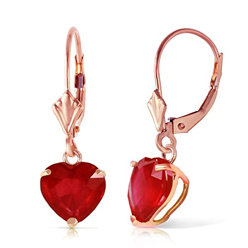 2.9 CTW 14k Solid Rose Gold Leverback Earrings with Natural Heart-shaped Ruby by Galaxy Gold