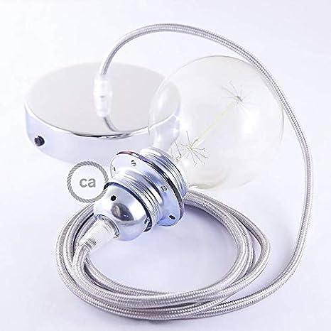 No creative cables Pendel per Paralume Lampada Sospensione Cavo Tessile Effetto Seta Argento RM02 Kit Fai da Te Cromato 0.5 Metri