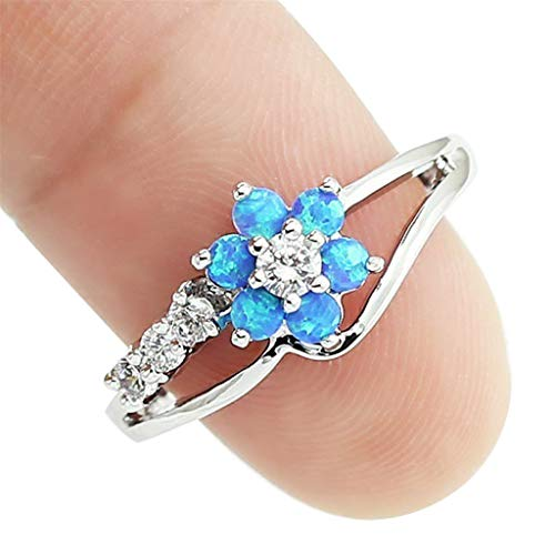 - Aunimeifly Rings for Women Opal Inlaid Into Plum Diamond Inlaid Hollow Ring Jewelry Gift