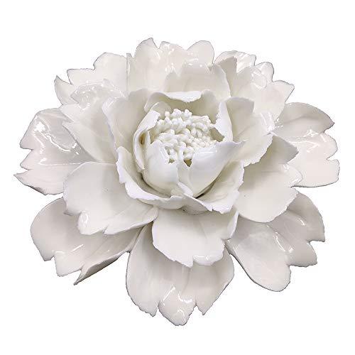 CALANTA Handmade White Ceramic Peony Flower Sculpture 3D Wall Hanging Decor 4.7