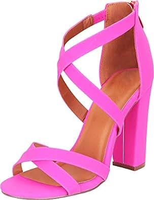 Cambridge Select Women's Crisscross Strappy Chunky Block High Heel Sandal Pink Size: 5.5