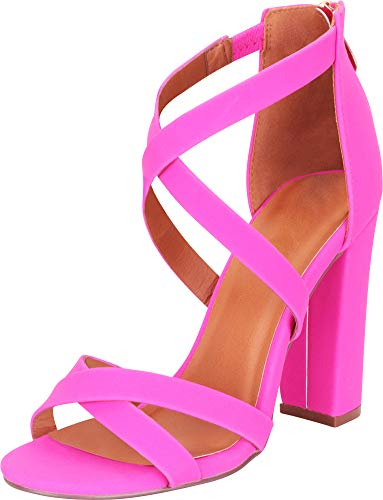 Cambridge Select Women's Crisscross Strappy Chunky Block High Heel Sandal,8 B(M) US,Hot Pink NBPU