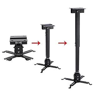 LESHP - Soporte de techo inclinable y regulable para proyector, hasta 20 Kg, ajustable entre 130mm y 650mm, inclinación +/-15º, color negro