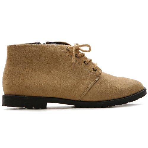 (Ollio Women's Flat Shoe Classic Lace Up Zip Faux Suede Oxford ZM2911(6 B(M) US, Sand))
