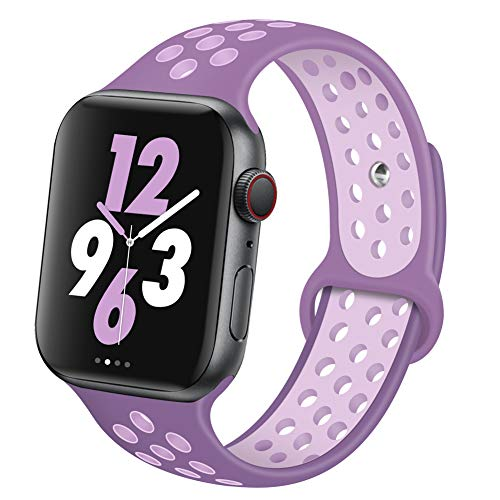 OriBear Compatible for Apple Watch Band 40mm 38mm, Breathable Sporty for iWatch Bands Series 4/3/2/1, Watch Nike+, Various Styles and Colors for Woman and Man(M/L,Dust Purple-Fog Purple)