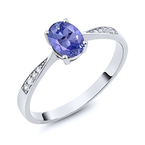 10K White Gold Diamond Ring with 0.81 Ct Oval Blue Tanzanite (Size 8) (Gold White Jewelry Tanzanite Ring)