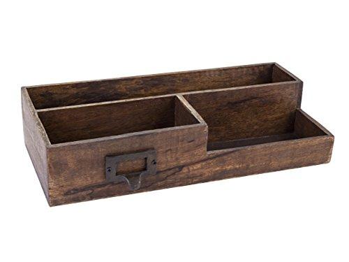 Dwellbee Rustic Wood and Brass Office Desktop Organizer Caddy (Mango Wood, Antique Brass) from Dwellbee