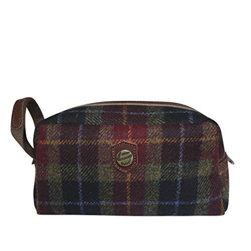 Bonfanti Harris Tweed And Italian Leather Toiletry Wash Bag (red) by Bonfanti