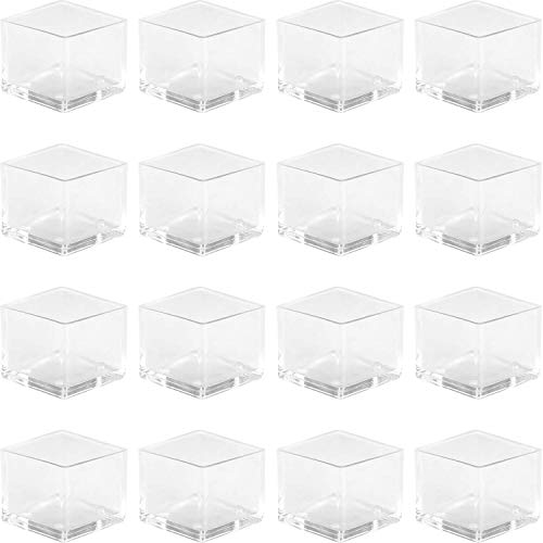 """Anwenk 1''x1"""" Square Chair Leg Floor Protectors 1inch 1 in Table Leg Protectors Chair Leg Caps Small, 16Pack,Clear"""