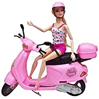 Munchkin Land Lovely Pull Back Steering Scooter Toy with Travel Doll