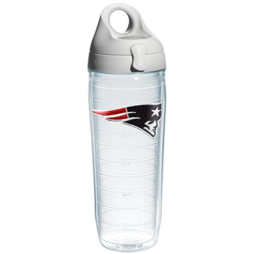 Tervis NFL New England Patriots Emblem Individual Water Bottle with Gray Lid, 24 oz, Clear (Hot Water Bottle Made In England)