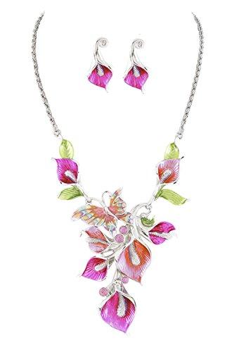 """Butterfly & Flowers Purple & Lavender Enameled Statement Necklace w/ Rhinestone Accents 16"""" w/ (Enameled Flower Necklace Earrings)"""