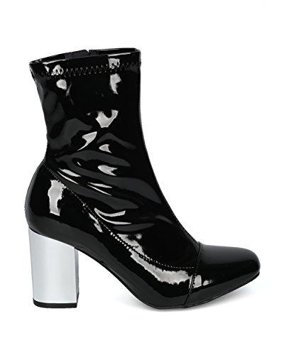 Alrisco Kvinnor Metallblocket Hälen Mjuk Axel Fotled Boot - Hf20 Av Vild Diva Samling Black Patent