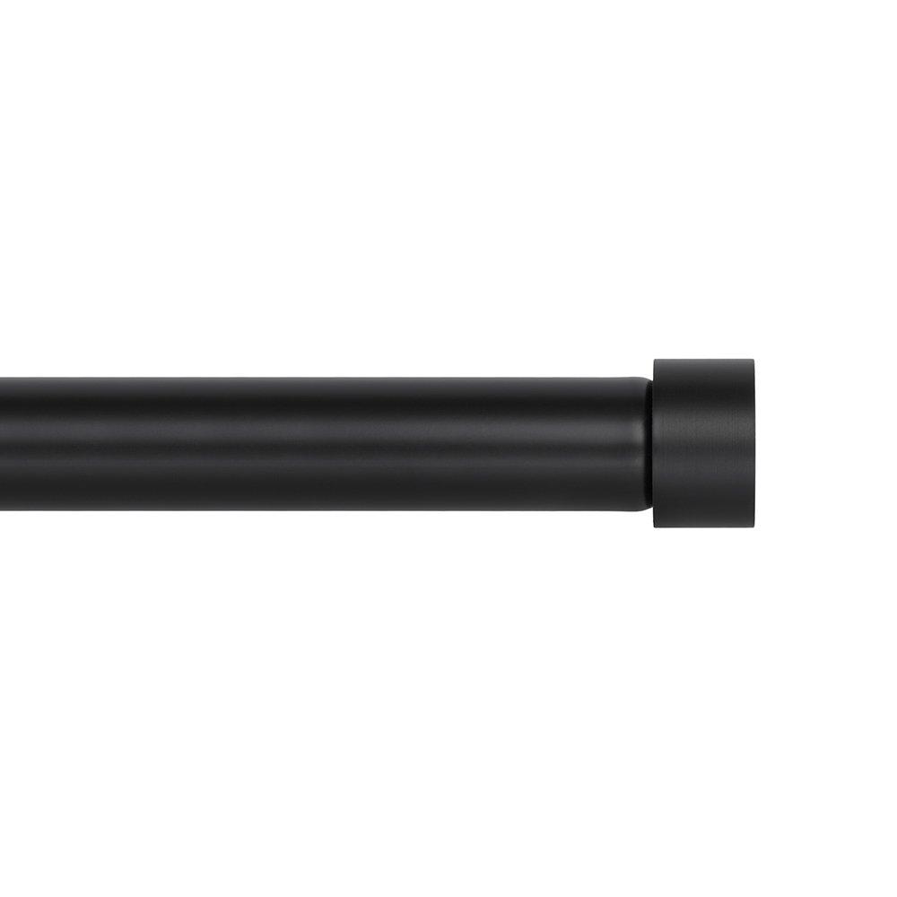 Ivilon Drapery Window Curtain Rod - End Cap Style Design 1 Inch Pole. 72 to 144 Inch Color Black by Ivilon