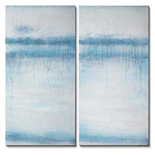 3Hdeko - Teal Abstract Canvas Wall Art Aqua Blue Ocean Coastal Wall Decor Turquoise Seascape Oil Painting for Living Room Bedroom Office, Stretched 20x40inchx2pcs