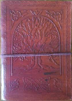 Tree of Life Journal Diary Leather Blank Black Book w/Cord 5'' x 7''