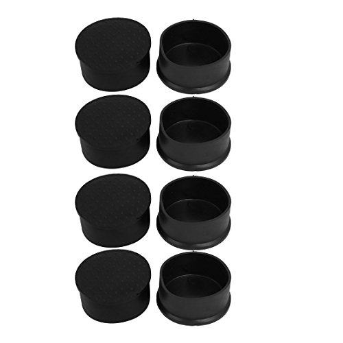 uxcell 8pcs 63mm Dia Black PVC Rubber Round Cabinet Leg Insert Cover Protector by uxcell