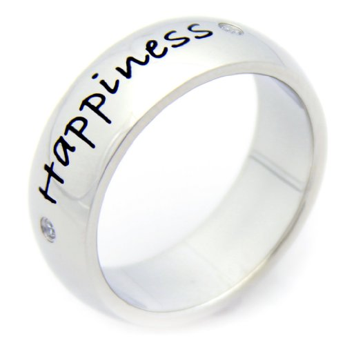 Happiness Cubic Zirconia Ring - Stainless Steel Poesy Ring - Inspirational Ring ()