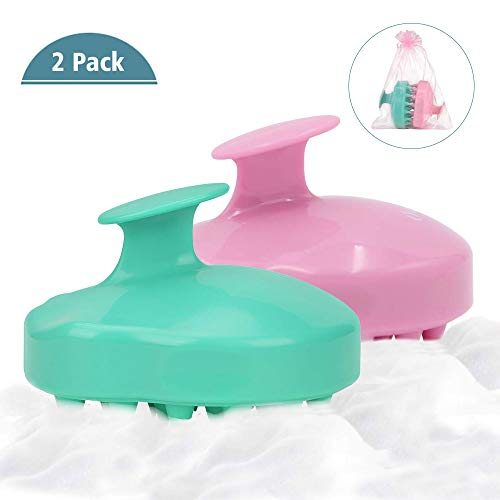 - (2 Pack) Shampoo Brush | Hair Scalp Massager, Chialstar Soft Silicone Scalp Care Brush [Wet & Dry] Perfect for Men, Women, Kids and Pets (Pink/Green)