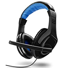 Gaming Headset, Fosmon Over-Ear 3.5mm TRRS Plug PC Headphones with Built-In Microphone and Inline Audio Control for PS4, Xbox One S / X , Computer, Smartphone, iPhone, Samsung, LG, HTC, Motorola & More