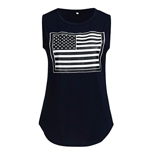 iSovze Women's Fashion Sleeveless O-Neck Flag Printing Tank T-Shirt Tops Blouse Navy