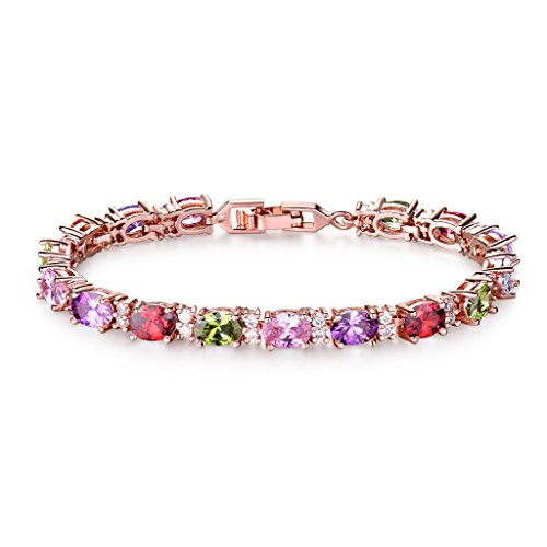 GULICX Ruby Color Amethyst Color Green Pink Crystal Multi Color Oval CZ Rose Gold Plated Bridal Bracelet