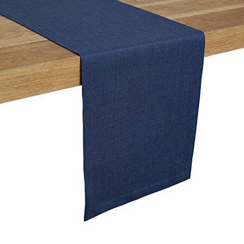 Solino Home 100% Pure Linen Table Runner - 14 x 60 Inch, Tesoro Runner, Natural and Handcrafted from European Flax - Blue -