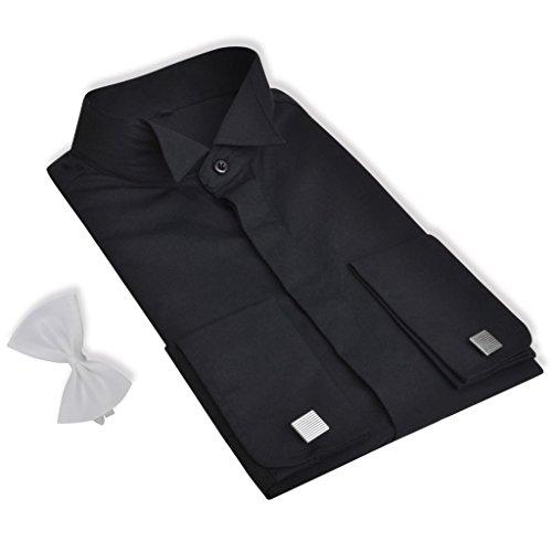 Anself Smokinghemd Herrenhemd Abend Hemd mit Manschettenknöpfen und Fliege Größe M Schwarz