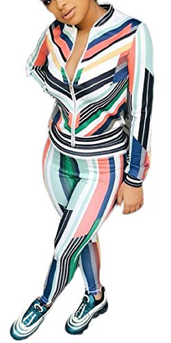 Jmwss QD Women's Print Sexy Coats Long-Sleeved Long Pant Full Zip Two Piece Outfit M - Long Sleeved Velour Pant