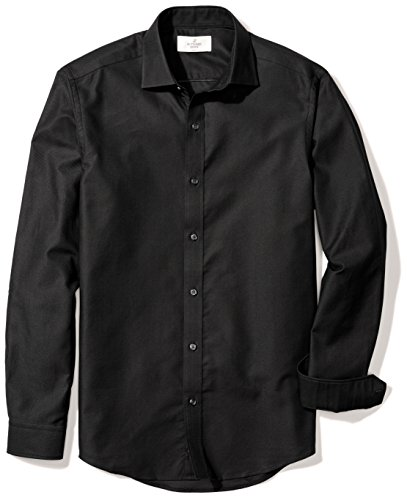 BUTTONED DOWN Men's Fitted Supima Cotton Spread-Collar Textured Dress Casual Shirt, Black, M 32/33