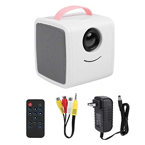 ASHATA HD Projector, 1080P LED Projector,Mini Portable HDMI Projector Children Education Projector Supports Multiple Language,Home Theater Children's Gift with Clear Stereo Sound Effect(Pink) from ASHATA