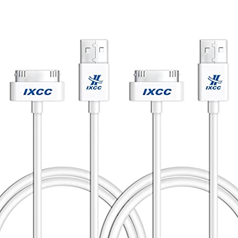 iXCC 3ft Apple MFi Certified 30 pin to USB Sync and Charge Cable for iPhone 4/4s, iPad 2/3, iPod 1-6 Gen - 2pc (Iphone 4s Charge Cable Short)