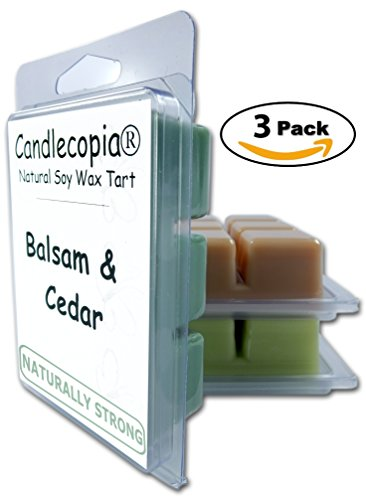Candlecopia Balsam & Cedar, Caribbean Teakwood and Himalayan Bamboo Strongly Scented Hand Poured Vegan Wax Melts, 18 Scented Wax Cubes, 9.6 Ounces in 3 x 6-Packs