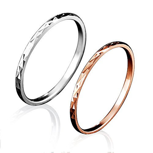 Balmora 100% Real 925 Sterling Silver Jewelry Midi Finger Knuckle Rings for Women Lady Girl 2 Pieces (1 Piece Silver + 1 Piece Rose gold) (5) ()
