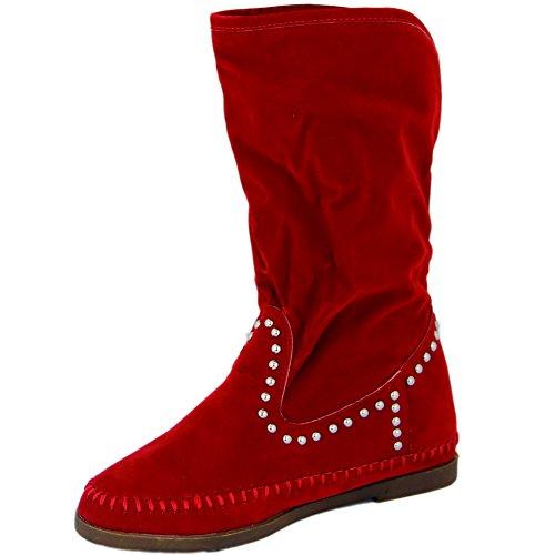 Unbekannt - Botas plisadas Mujer Rojo