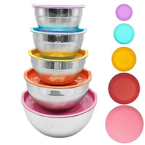 (Yzakka 5PCS Lids Stainless Steel 1/2qt 2qt 3qt 8qt 5qt Mixing Measurement Lines and Non-Slip Silicone Bottoms Meal Prep Salad Bowls, 5 Color-Pink/red/Orange/Blue/Purple)
