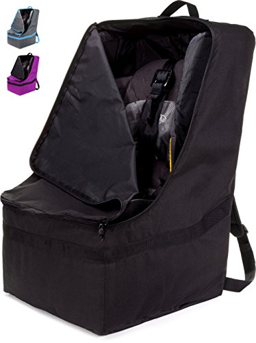 Peg Perego Travel Bag - ZOHZO Car Seat Travel Bag — Adjustable, Padded Backpack for Car Seats — Car Seat Travel Tote — Save Money, Make Traveling Easier — Compatible with Most Name Brand Car Seats (Black with Black Trim)