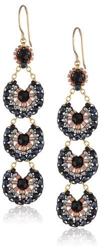 Hematite Onyx Earrings (Miguel Ases Onyx and Hematite Long Drop Earrings)