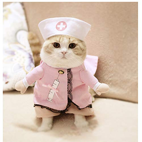 WORDERFUL Dog Cat Doctor Nurse Costume Pet Doctor Clothing Halloween Jeans Outfit Apparel (XS, Nurse (Pink))]()