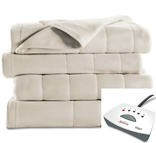 #1 Selling Sunbeam Heated Fleece Electric Blanket in a QUEEN Size WITH 2 Controls. 5 Heat Settings and a Long 10 Hour Shut Off with a 6 Foot Cord. QUEEN - SEASHELL