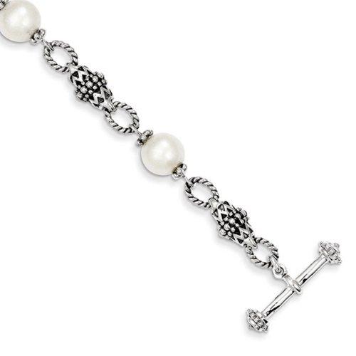 Icecarats Argent Sterling De Bijoux De Créateurs De Culture D'Eau Douce 8In Perle Bracelet En 8 Pouces