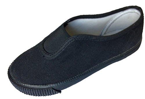 Garçons Uniforme Scolaire Adulte Tennis Noir Gym Classe Chaussures Élastique Chaussures
