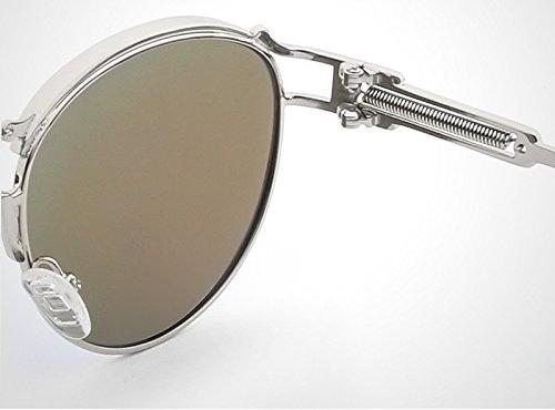 Sol Silver tea Metal Lente Rayos polarizadas de Espejo de Color Jusheng Steampunk de Galsses Sun Sol de Gold Gafas Lente Gafas Sol Blue de pRxqAFRa