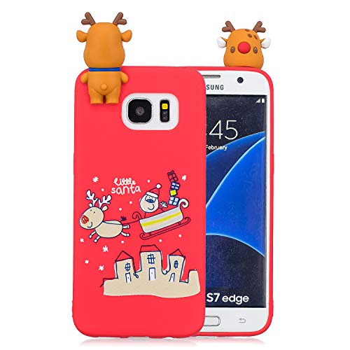 Christmas Phone Case for Samsung Galaxy S7 Edge,Samsung Galaxy S7 Edge Case,Yobby 3D Cartoon Cute Pattern Slim Back Cover Soft Silicone Rubber Shockproof Protective Shell-Red Elk Sled