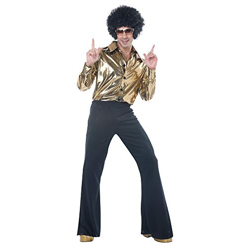 Mens Disco King 1970s Halloween Costume Gold