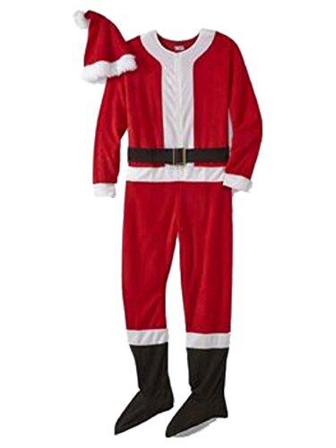 (Joe Boxer Mens Red Fleece Santa Claus Blanket Sleeper & Hat Set Footie Pajama XL)